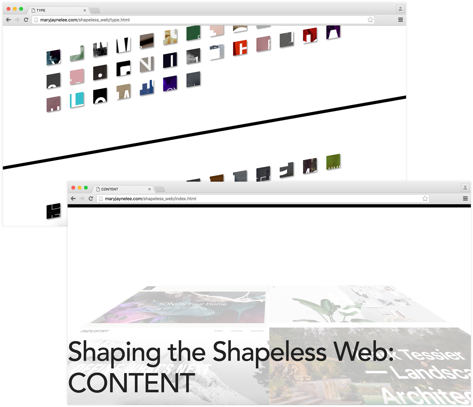 Shaping the Shapeless Web project content screens